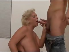 Busty Blonde Mature With Young Guy tube porn video