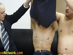Asian toyed in threeway tube porn video