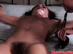Lezdom dyke ties up sub to the bed tube porn video