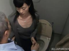 Mature Japanese pornstar getting fucked doggy style by a horny old guy in the toilet tube porn video