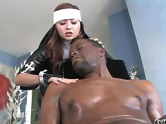 Gorgeous pornstar in fishnet stockings giving a big black cock a steamy blowjob in interracial tube porn video