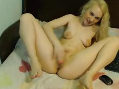Girl with floppy tits finger fucks herself tube porn video