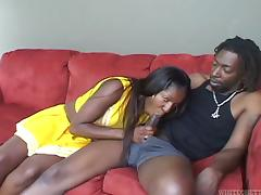 A horny ebony babe sucks, fucks then takes cum in her mouth tube porn video