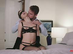 He keeps her blindfolded while he fucks her mouth and pussy tube porn video