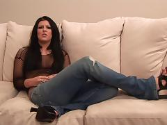 Ambitious brunette with long hair in sexy bikini getting banged hardcore on a sofa tube porn video