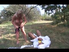 Hot blonde babe fucks this diaper fetish guy outdoors tube porn video