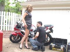 Biker dude gets his dick sucked by a pair of hotties outdoors tube porn video
