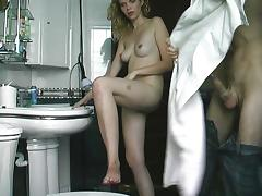 Blonde curly wife fucked in bathroom tube porn video