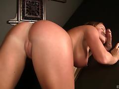 Nikki Delano shows her cock sucking skills in a gloryhole tube porn video