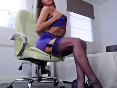 Hot Girl Tease With Stockings & Heels tube porn video