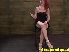 Tattooed strapon slut suspended bondage scene tube porn video