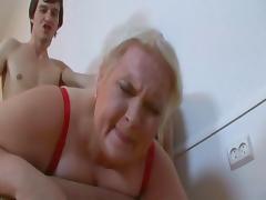 Blonde Russian 50+ BBW Belykova sc2-red bra tube porn video