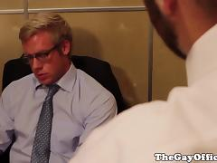 Muscled hunks fuck when left alone in office tube porn video
