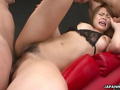 Saki is sucking on the dick and gets threesome fucked tube porn video