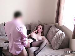 British fake agent fucks busty amateur on casting tube porn video