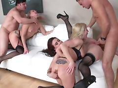 MILF sluts in sexy lingerie get fucked hard in this orgy party tube porn video