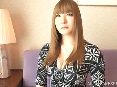 Fake tits are foxy on this Japanese hottie sucking a dick tube porn video