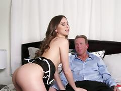 Riley Reid looks her sexiest as she swallows dick and rides it tube porn video