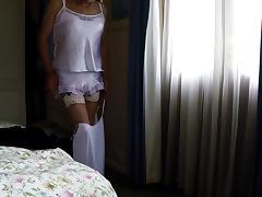 Cross dresser in satin tube porn video