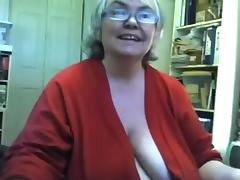 Chunky saggy granny undresses and masturbates on livecam tube porn video