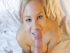 Blonde amateur with massive tits is drenched in cum tube porn video