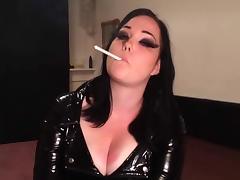 Busty British Smoking in PVC tube porn video