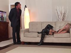 Blindfolded slut in thigh high leather boots is a perfect fuck tube porn video