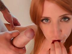 Redhead in heats goes wild on cock tube porn video