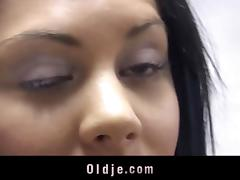 Sleaze brunette lures old worker to get rid off a bill tube porn video