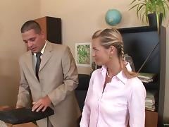Office girl in socks takes cum in mouth after fucked Hardcore in MMF DP scene tube porn video