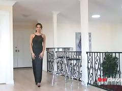 Elegant lady Renae Cruz sucks black cock in an evening gown tube porn video