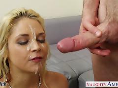 Big assed blonde wife Sarah Vandella riding a large dick tube porn video