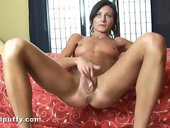 Brunette with small tits masturbates,rubbing shaved pussy in solo scene tube porn video
