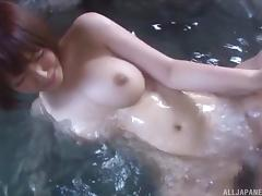This Japanese couple loves to go outside and fuck in the hot tub tube porn video