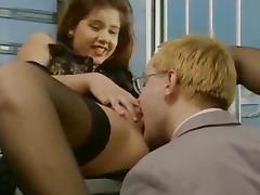 Cute German brunette in stockings gets fucked in both holes tube porn video