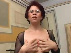 Milf in Body Stocking Enjoys Cock in All Her Holes tube porn video