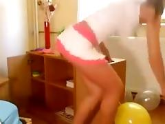 Hot Russian girl in Miniskirt Sit Pops Balloons tube porn video