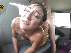 Wet bitch taking a hardcore fucking in the back seat tube porn video