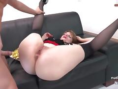 Chubby french slut hard fucking and pussy gaping in 3way tube porn video