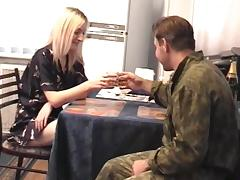 She serves this Army guy some coffee then gives him the pussy tube porn video
