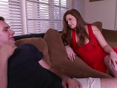 Milf in a sexy red dress gives the best blowjob ever tube porn video