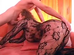 Nice German blonde MILF in catsuit fucks younger boy tube porn video