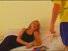 Stunning blonde in stockings is the perfect fuck mate in this juicy bed sex action tube porn video