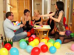 Birthday party becomes a full blown sex orgy with four busty sluts tube porn video