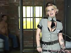 Mistress Candy Monroe takes advantage of a guy in jail tube porn video