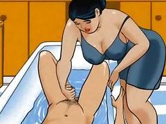 Wife  making a handjob in the bath cartoon tube porn video