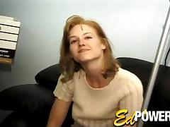 Nerdy guy in glasses fucking a busty blonde's hairy pussy tube porn video