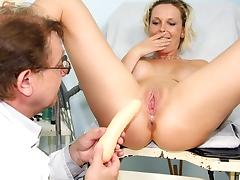 Czech blonde Gabriela cunt stretching therapy by weird doctor tube porn video