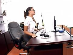 Horny ###ary fucked on her desk in lingerie tube porn video