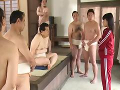 Slut in the sauna gangbanged by a group of Japanese men tube porn video